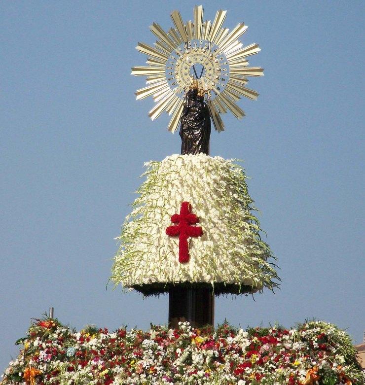 Virgen del Pilar después de la ofrenda