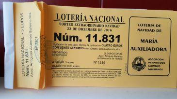 Lotería de los Antiguos Alumnos del colegio Salesiano de Huesca. La tenemos todos los años, pero nos queda poca...